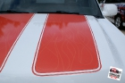 Custom designed, printed, and laminated vinyl racing stripes installed